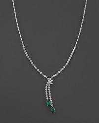 Bloomingdale's Emerald And Diamond Drop Necklace In 14K White Gold Green