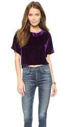 Line And Dot Angela Chase Velvet Crop Top Violet