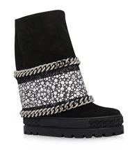 Casadei Chaucer Chain Trim Studded Wedge Boots Female Black