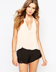 Goldie Halterneck Swing Top With Scarf Tassel Detail Nude