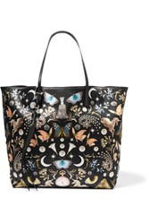 Alexander Mcqueen Leather Trimmed Printed Satin Tote Black