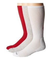 Nike Dri Fit Cotton Swoosh Crew 3 Pair Pack White Gym Red Gym Red White Grey Heather Gym Red Crew Cut Socks Shoes