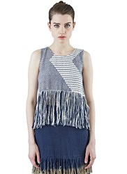 Voz Zigzag Woven Fringed Tank Top Navy