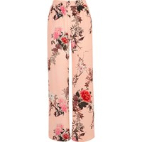 River Island Womens Pink Floral Print Wide Leg Trousers