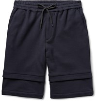 Public School Layered Effect Loopback Cotton Jersey Shorts Blue