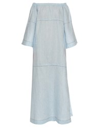 Lisa Marie Fernandez Off The Shoulder Linen Dress Light Denim