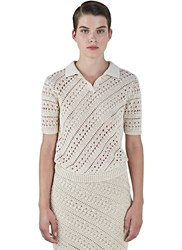 Altuzarra Fontaine Crochet Knit Polo Shirt Beige