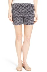 Petite Women's Caslon 'Addison' Zip Pocket Shorts Navy Floral Print
