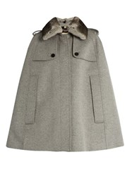 Burberry Wolseley Wool And Cashmere Blend Cape Light Grey