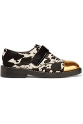 Marni Leather Trimmed Calf Hair Loafers Black