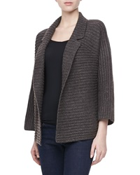 Halston Heritage Long Sleeve Ribbed Cardigan Sweater Gray Brown