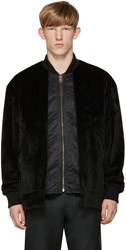 Toga Virilis Black Faux Fur Layered Bomber Jacket