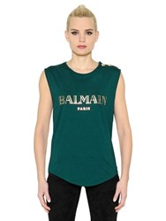 Balmain Laminated Logo Cotton Jersey T Shirt
