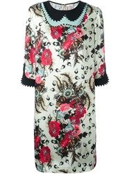 Antonio Marras Floral Print Shift Dress Nude And Neutrals
