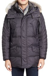 Marc New York Men's By Andrew 'Stowaway' Hooded Parka With Genuine Coyote Fur Trim Steel