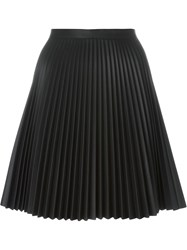 Amen Pleated Faux Leather Skirt Black