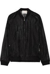 3.1 Phillip Lim Ripped Stocking Embroidered Organza Jacket Black