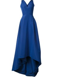 Carolina Herrera V Neck High Low Gown Blue