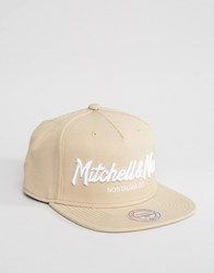 Mitchell And Ness Snapback Cap Pinscript Beige