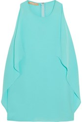 Michael Kors Collection Draped Silk Chiffon Top Turquoise