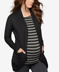 A Pea In The Pod Maternity Open Front French Terry Cardigan Black
