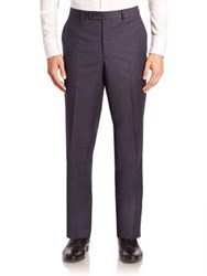 Saks Fifth Avenue Checked Wool Trousers Navy