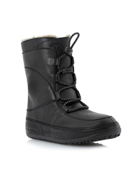 Fitflop Mukluk Moccasin Style Lace Up Boot Black Leather