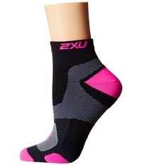 2Xu Training Vectr Sock Black Fluro Pink Women's Crew Cut Socks Shoes