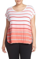 Plus Size Women's Pink Lotus 'Caution' Ombre Stripe Tee Tigerlily