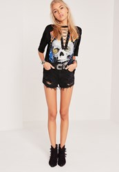Missguided Death Metal Skull Lace Up T Shirt Black Black