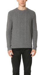 Club Monaco Merino Cable Crew Sweater Medium Grey