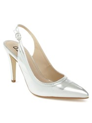 Daniel Melbon Metallic High Slingback Court Shoes Silver Metallic