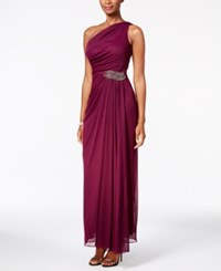 Alex Evenings One Shoulder Beaded Gown Sangria Red