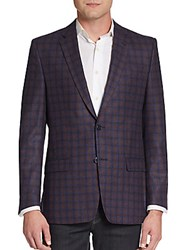 Versace Regular Fit Windowpane Check Virgin Wool Sportcoat Navy Multi