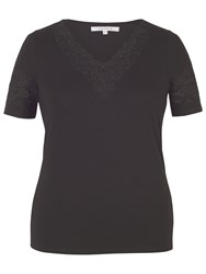 Chesca Cut Out V Neck T Shirt Black