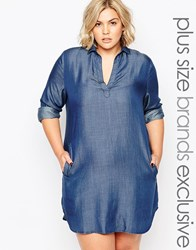 Alice And You Chambray Longline Shirt Dress Indigo