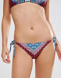 Warehouse Patchwork Pom Pom Bikini Bottom Multi