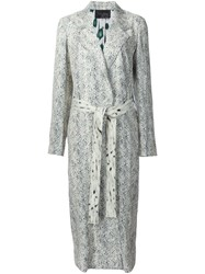 Calvin Klein Collection Printed Belted Mid Length Coat White