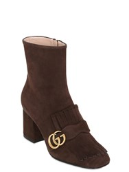 Gucci 75Mm Marmont Fringed Suede Ankle Boots
