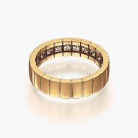Openjart Diamonds Inside Men's Wedding Ring With Stripes Gold Plated