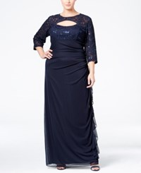 Betsy And Adam Plus Size Sequined Lace Cutout Gown Navy