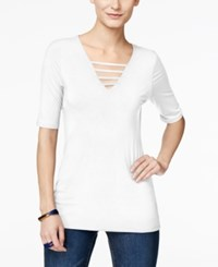 Inc International Concepts Strappy V Neck T Shirt Only At Macy's Bright White