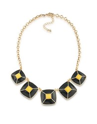 1St And Gorgeous Enamel Pyramid Pendant Statement Necklace In Black Yellow Gold