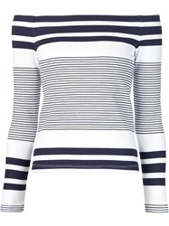 Rosetta Getty Boat Neck Striped Sweater White