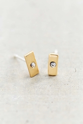 Urban Outfitters Sterling Silver 18K Gold Plated Stud Earring Gold Bar