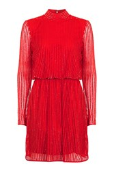 Topshop '80S Sequin Roll Neck Dress Red