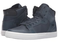 Supra Vaider Navy Leather Skate Shoes Blue