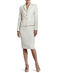 Albert Nipon Tweed Long Sleeve Skirt Suit