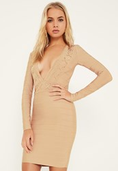 Missguided Nude Bandage Long Sleeve Eyelet Detail Bodycon Dress