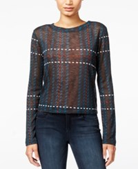 Bar Iii Sheer Knit Crop Top Only At Macy's Rainforest Combo